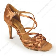 'Katarina' features a thin layer of Tan Satin stitched on top of the standard straps to create a more unique look. It's made with gel cushioned insoles for the best in comfort and super flexible to help you maximise the point of your toe. Latin Dance Shoes, Ballroom Dance Shoes, Latin Dance Dresses, Gel Cushion, The Vamps, Dress Shoes, Satin, International Dance, Sandals