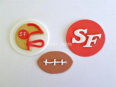 Football Cupcake Fondant Edible Toppers Super Bowl Party