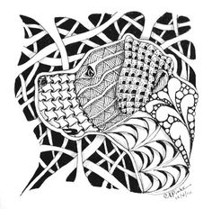 "a Zentangle inspired portrait of you pet !  Using the profile from your photo, I will create a Zentangle inspired ink drawing.  Small squares ( 3.5 to 4"" ) can be easily framed as table top or wall art."