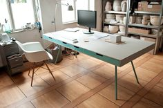 ARCHITECT'S TABLE FOR LAURA by 45 Kilo -- I need every single thing in this studio. The drawers, the table, the computer, the racks and racks of pottery. Furniture Inspiration, Interior Inspiration, Desk Inspiration, Architect Table, Contemporary Office Desk, Serge Mouille, Home Decoracion, Interiores Design, Home Office