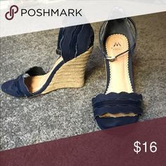 Wedge high heels Worn but still in great condition!! Navy Blue in color Madison Shoes Heels