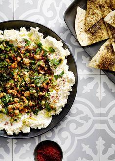 Olive, mint and hazelnut labneh with za'tar pita /