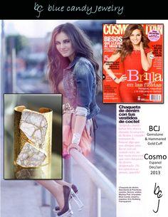 Cosmopolitan Magazine Espanol Dec/Jan Issue features Blue Candy jewelry Gemstone Marble & Hammered Gold Cuff http://stores.bluecandyjewelry.com/-strse-1421/Gemstone-Cuff-Marble/Detail.bok