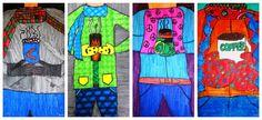 For the Love of Art: Grade: Cropped Winter Portraits 5th Grade Art, Grade 2, Fourth Grade, Sixth Grade, Winter Art Projects, Class Projects, Winter Project, Art Classroom, Classroom Ideas