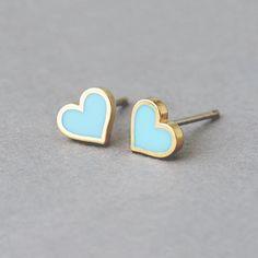 $19 Turquoise Heart Stud Earrings from KellinSilver