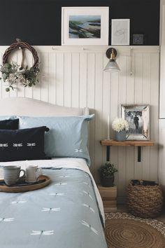Wood Paneling Makeover, White Wood Paneling, Painting Wood Paneling, Interior Wood Paneling, Glass Wall Lights, Bookshelves Built In, Wood Panel Walls, Blue Wood, Living Room Designs