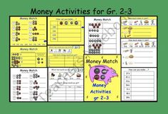 This is a Smart Notebook 11 file with 10 pages of Money Activities for grades Pg 1 Money Math (Students match coins with their value amount.) Pg 2 Money Match (Students match equivalent money values.) Pg 3 How can you make? 38 cents, 14 cents etc. Teaching Money, Teaching Math, Teaching Ideas, Money Activities, Math Resources, Consumer Math, Kindergarten Lesson Plans, 2nd Grade Math, Third Grade