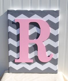 Grey Chevron Initial Canvas Wall Art 11x14 by LettersFromAtoZ, $20.00