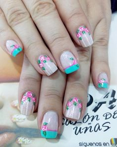 Uñas Cute Nail Art, Cute Nails, My Nails, Beauty Nails, How To Do Nails, You Nailed It, Flower Designs, Ale, Manicure