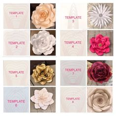 DETAILS: $5.00 PER TEMPLATE -All paper flower templates come in 8 different sizes ranging from XS to XL. (PDF-Instant Download) - PAPER FLOWER OR INSTRUCTIONS NOT INCLUDED. CENTER NOT INCLUDED. *****INSTRUCTIONS***** ***PDF TEMPLATES WILL BE EMAILED TO YOU DUE TO THE HIGH NUMBER