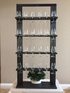Champagne Wall Glass Holder for Weddings Wine Rack Wall, Wine Glass Rack, Wine Wall, Wall Racks, Pallet Pictures, Dark Walnut Stain, Wood Display, Wall Bar, Glass Holders