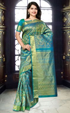 Kanchipuram Silk PK49 - Latest collection designer zari brocaded handloom pure Samudrika Kanchipuram silk saree in blue color with traditional, geometric and floral motifs in zari work. Self border with rich designer pallu.
