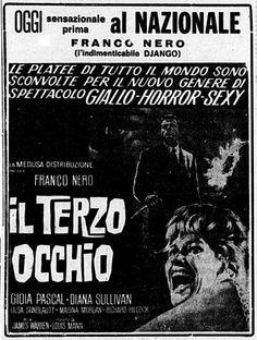 """""""Il terzo occhio"""", conosciuto all'estero come """"The Third Eye"""" (1966) di James Warren (Mino Guerrini), con Franco Nero e Gioia Pascal. Italian release: July 28, 1966 #MoviePosters #FrancoNero"""