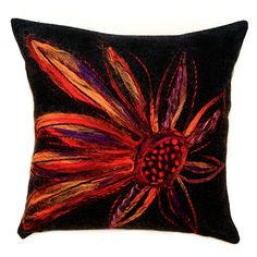 Black wool pillow case with felted flower.