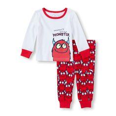 """Conjunto con pantalón con estampado de monstruos y top """"Mommy's Little Monster"""" de mangas largas, para bebés niños"""