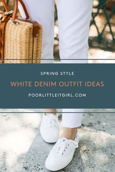 There are endless ways to style this springtime wardrobe staple. And now is the time to shop for the best white denim pieces you can find. Here are 6 ways to style white denim for spring and summer! CLICK to read and shop! #poorlittleitgirl #whitejeans #whitedenim #howtostylewhitejeans #springfashion