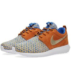 Nike Roshe NM Flyknit Premium ($145) ❤ liked on Polyvore featuring men's fashion, men's shoes, mens leather shoes, nike mens shoes and mens metallic shoes