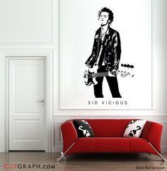 SID VICIOUS Wall Decal 6ft.x3ft. Sex Pistols Punk Rock UK Art Home Decor