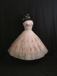Vintage 1950's 50s Cupcake Strapless PINK Embroidered Metallic Chiffon Organza Taffeta Party Prom Wedding Dress Gown