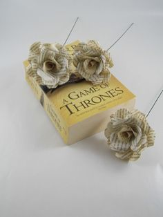 3 Game of Thrones Roses, Book Page Paper Flower Roses, 3 Handmade Paper Flowers