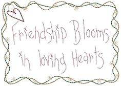 Friendship Blooms Sampler - 5x7 | Primitive | Machine Embroidery Designs | SWAKembroidery.com HeartStrings Embroidery