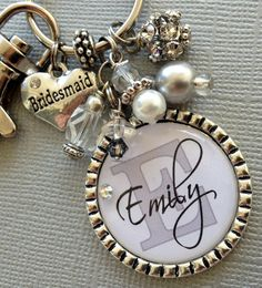 Bridesmaid Gift SET of 4, Wedding Party, Thank you gift - Wedding jewelry, heart bridesmaid charm, maid of honor charm keychain, purse clip on Etsy, $84.00