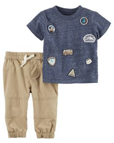 Baby Boy 2-Piece Roadtrip Patch Tee & Pieced Pant Set from Carters.com. Shop clothing & accessories from a trusted name in kids, toddlers, and baby clothes.