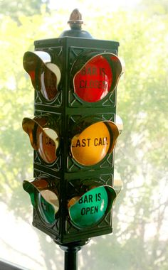 Vintage Traffic Signal Stoplight Bar Is Open, Bar is Closed, Last Call FREE SHIPPING US