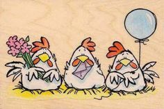 2003 Penny Black Coop Party Chickens Rubber Stamp for sale online Chicken Painting, Chicken Art, Party Chicken, Chickens And Roosters, Black Chickens, Happy Paintings, Wood Stamp, Happy B Day, Watercolor Cards