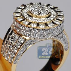 Mens Diamond Cluster Round Pinky Ring Signet 14K Yellow Gold 4.04 Carat SI1 Clarity G Color