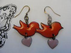 Handmade Jewelry  Copper Enamel Birds and by AJewelryWorkshop, $15.00