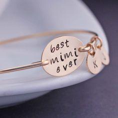 Mimi Bracelet, Personalized Mimi Jewelry Gift, Gold Mimi Bangle Bracelet