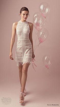 efabddaaf07 tali  amp  marianna 2018 bridal sleeveless halter high neck full  embellishment sexy mini dress short