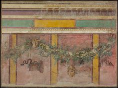 Wall painting from the west wall of Room L of the Villa of P. Fannius Synistor at Boscoreale | Roman | Late Republican | The Met.  Wall painting from the west wall of Room L of the Villa of P. Fannius Synistor at Boscoreale  Period:Late Republican Date:ca. 50–40 B.C. Culture:Roman Medium:Fresco