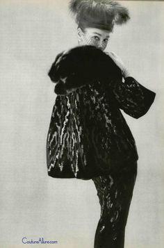 Pierre Balmain suit.  Black velvet with black sequins and black mink, 1956.