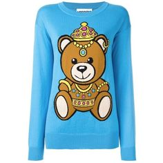 Moschino Teddy Bear Sweater ($595) ❤ liked on Polyvore featuring tops, sweaters, teddy bear sweater, blue sweater, moschino, moschino sweater and moschino top