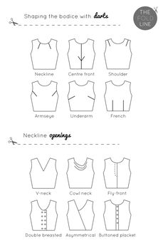 Pattern styles darts and neckline openings