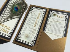 Art Nouveau Peacock Feather Pocketfold Invite in Black & Antique Gold