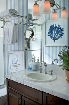 Blue and white are a natural color scheme for the nautical themed room...blue so beautifully representing the sky and sea. This bathroom gets a few additional nautical touches via the coral and seagull art.