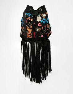 ASOS | ASOS Suede Embroidered Duffle Bag at ASOS