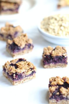 Easy Blueberry Breakfast Oat Bars Recipe (gluten free dairy free Vegan) Healthy refined sugar free flourless oat bars! Super easy dairy free quick breakfast. Food Allergy friendly.