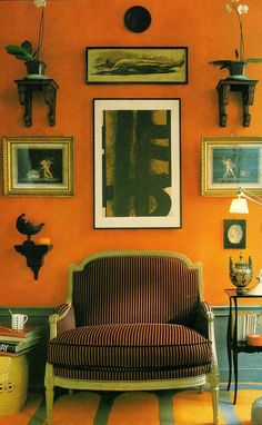 "In addition, for all of you ""orange haters,"" it's likely that you are already living with copious amounts of the color. And, these shades of orange paint. Orange Paint Colors, Wall Paint Colors, Room Colors, Orange Color, Orange Rooms, Orange Walls, Orange Wall Paints, Orange Painted Rooms, Beautiful Interiors"
