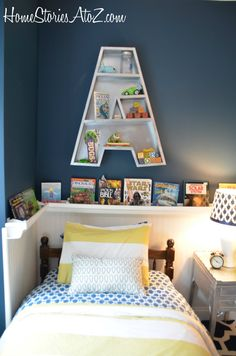 I love the shelf around the bed for books.