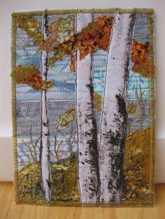 Quilted Postcard Birch Trees Fabric Postcard by FiberArtbyLudmila