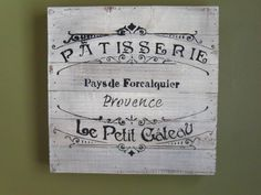 """French Bakery Sign, Handmade White Distressed Rustic Wood Sign, Home Decor, French Wall Art, Kitchen Decor for Walls 12"""" x 12""""x 1.3/4"""" by BradfordsWoodSigns on Etsy"""