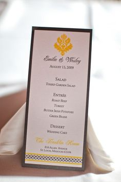 Wedding Menu, white and black accented with a light yellow.
