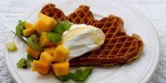 Disse vaflene er bra for helsa Finger Foods, Tapas, Waffles, Appetizers, Cooking Recipes, Snacks, Healthy, Breakfast, Morning Coffee