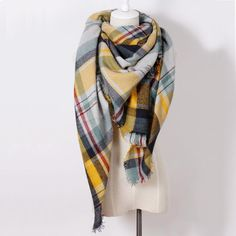 25d01283a010f New Color Plaid Scarves #winter #fashion Woman'S Oversized Cashmere #shawl  Wrapped In Warm