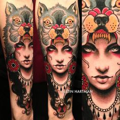 Tattoo by Justin Hartman - the depth in her face is amazing, I wonder why he didn't do the same in the wolf's face