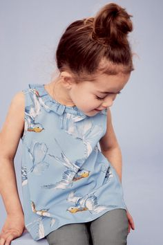 Buy Blue Bird Print Bow Blouse from the Next UK online shop Bohemian Girls, Vintage Bohemian, Toddler Fashion, Girl Fashion, 3rd Baby, Bow Blouse, Little Fashion, Sustainable Clothing, Bird Prints